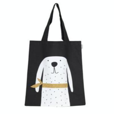 Bosse Tote Bag, Black.  Black bag with printed white spotty dog with long ears.