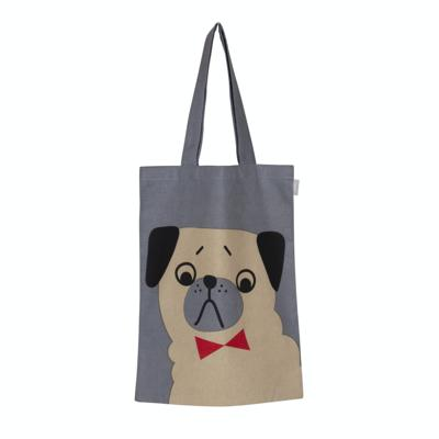 Penny Tote Bag, Grey. Grey bag with penny the beige dog with black ears.