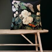 Velvet Cushion Apple Blossom Black, VanillaFly, 50x50cm, luxury statement cushion