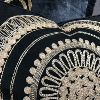 Deco Circular Motif Cushion in Black