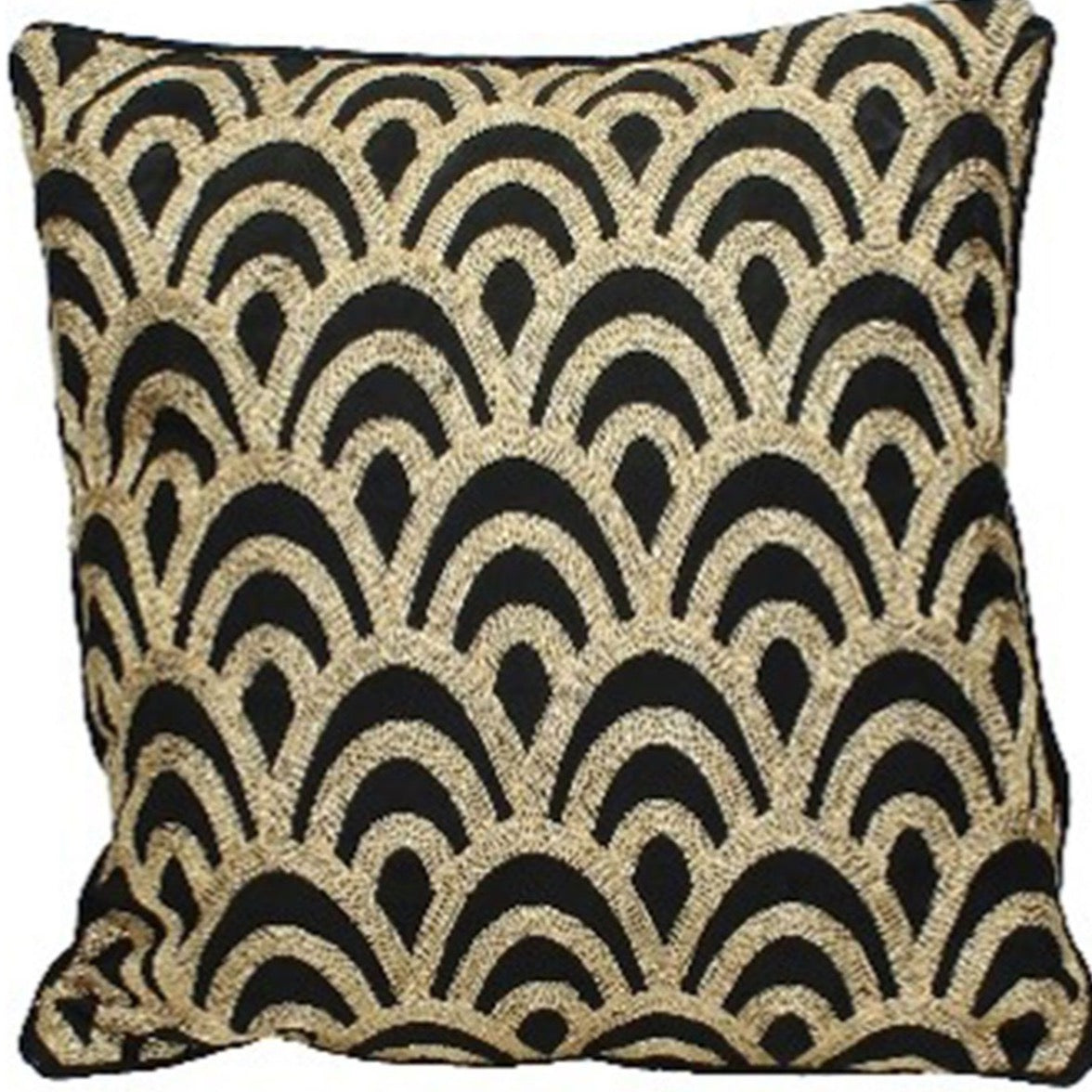Deco Scalloped Cushion in Black