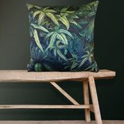 Botanical Fern Green Velvet Cushion