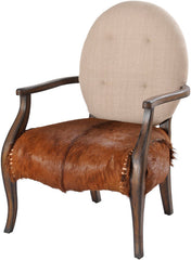 A unique, traditionally styled wooden occasional chair that combines a bang-on-trend goatskin seat with contrasting cream fabric back