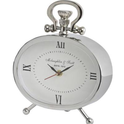 Oval Silver Mantel Clock