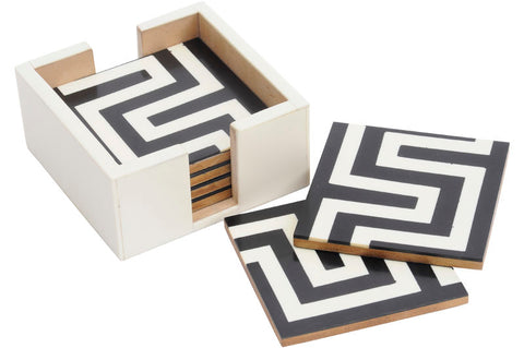 Black & White Set of Six Coasters, geometric design
