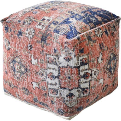 Gemen Jacquared Woven Multi Colour Cotton Pouffe