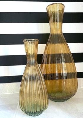 Riya Ribbed Tapered Vase, Amber, Medium,
