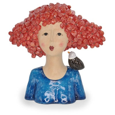 Amelie, Red Haired Lady Bust with Bird