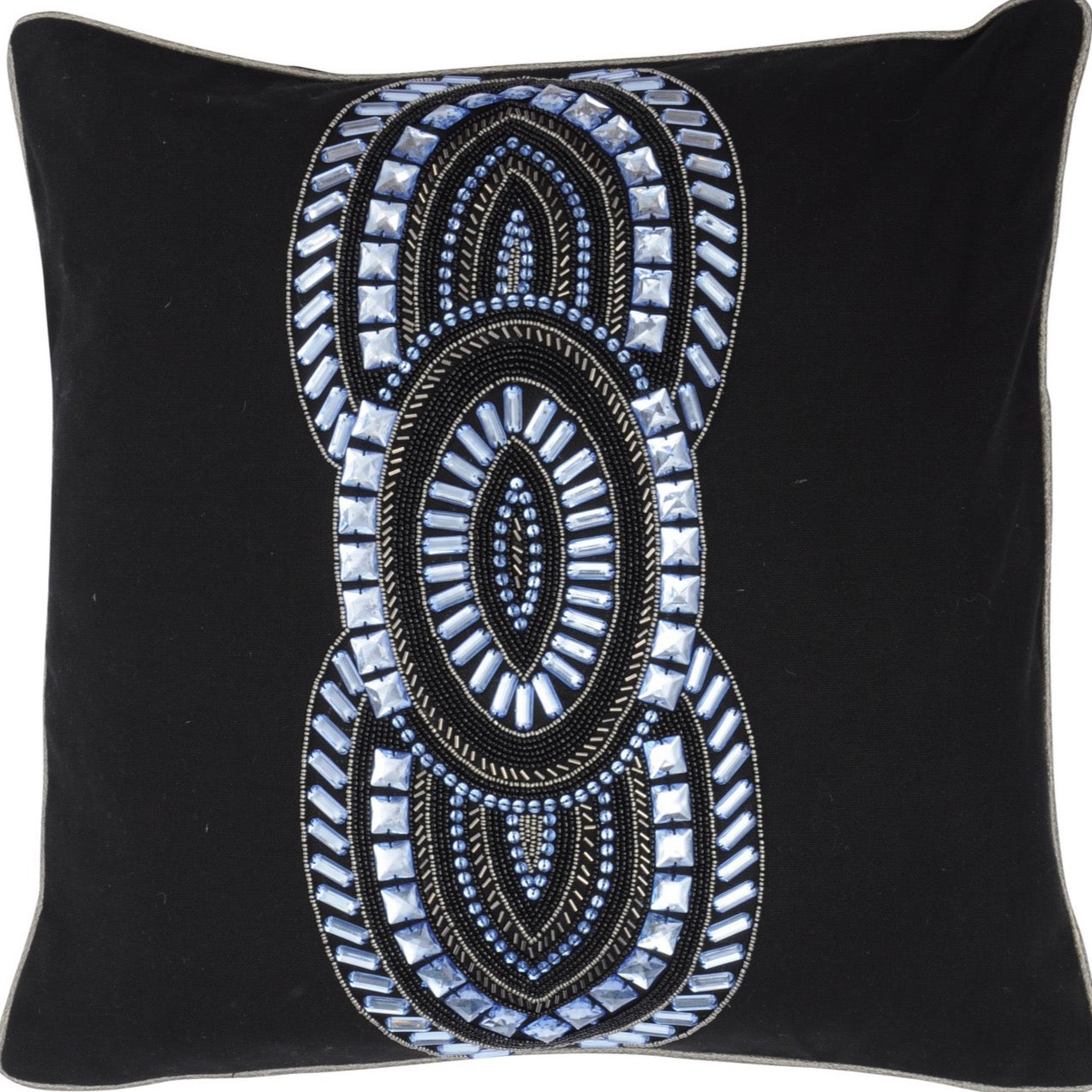 Halcyon Black & Blue Square Cushion