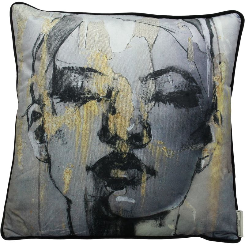 Sketched female grey velvet cushion with black piping edge