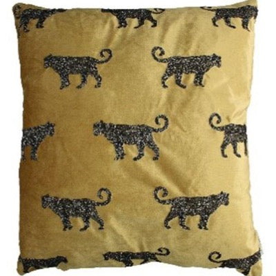 Gold Velvet cushion with black embroidered repeat leopards on front cover