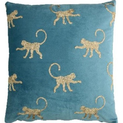 Safari Elephant Monkey Blue Velvet Cushion, gold embroidered repeat monkey's on front cover