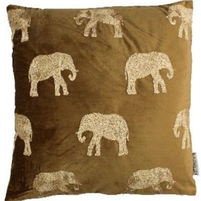 Safari Elephant Brown Embroidered Velvet Cushion