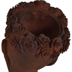 A top rear view of the Rusty Girl Planter, Small