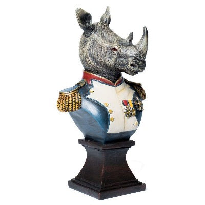 Rhino Bust in Military Uniform, Small