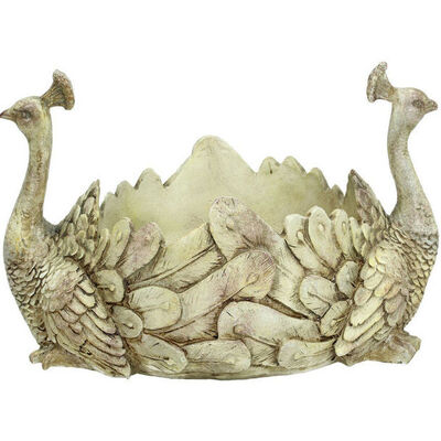 Peacock Resin Display Bowl, Ivory