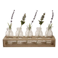 Vase wooden tray with  5 clear glass mini milk bottles