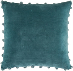 Teal cotton velvet cushion with pom poms