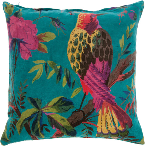 Gladys & Charles, Blue bird of paradise cotton velvet cushion