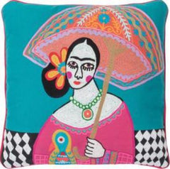 Frida Kahlo filled cushion with umbrella
