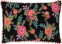 Gladys & Charles, Black velvet hand embroidered roses filled cushion with orange pom poms, hand embroidered, cotton back