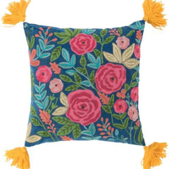 Gladys & Charles, Blue velvet hand embroidered roses filled cushion with thick yellow wool tassels