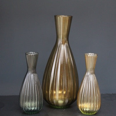 Riya Ribbed Tapered Vase, Taupe, Medium