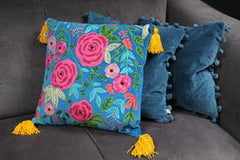Gladys & Charles, Blue velvet rose tassel cushion, hand embroidered