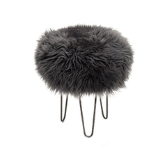 Gladys & Charles, Holly Baa Sheepskin Stool in slate grey British sheepskin, antique iron legs