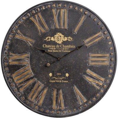 Antique Iron Chateau Wall Clock