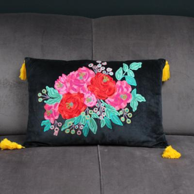 Gladys & Charles, Black velvet hand embroidered roses filled cushion with yellow tassels