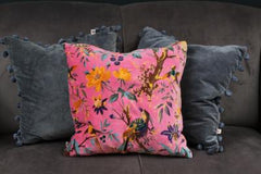 Gladys & Charles, Birds of paradise print, coral pink, cotton velvet cushion