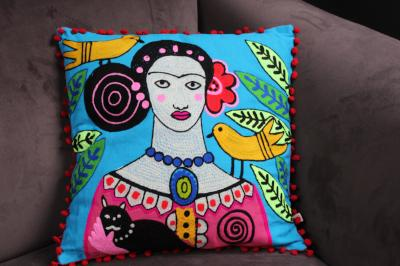 Day of the Dead Frida Kahlo filled square cushion