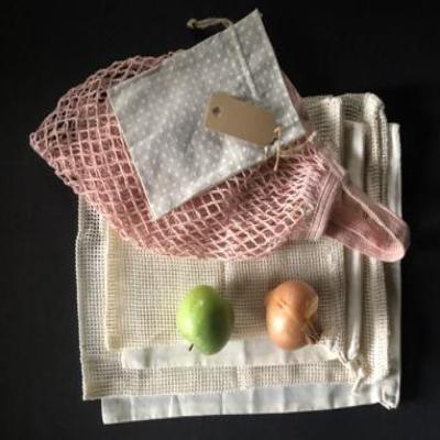Organic Cotton Bag Gift Set, 5 bags, Inc Pink Shopper