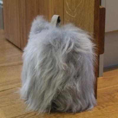 Flock stop door stop, silver, British sheepskin