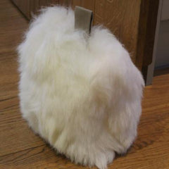 Flock stock door stop, ivory, British sheepskin