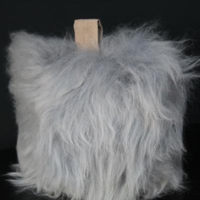 Flock stock door stop, silver, British sheepskin
