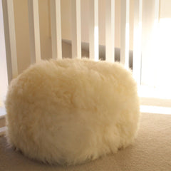 Gladys & Charles British sheepskin poufee and footstool, ivory, cream