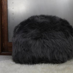 Gladys & Charles, British Sheepskin poufee and footstool in slate grey
