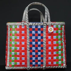 Gladys & Charles, The Wag Basket, recycled plastic scraping, handmade, bag, handwoven