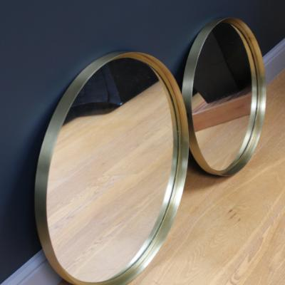 Bita Round Mirror, brass metal frame in polished brass, large, 60 cm