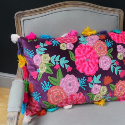 Gladys & Charles, hand embroidered roses, purple velvet cushion, with multi-coloured tassels