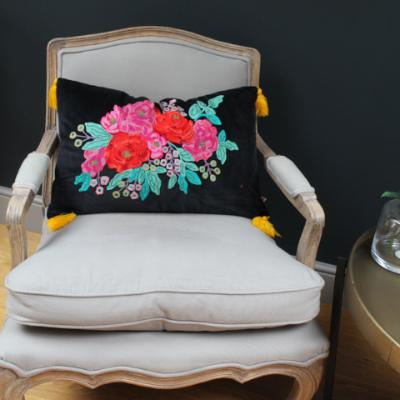 Gladys & Charles, Embroidered Rose Velvet Cushion Black, with yellow tassels