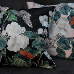 Black Apple Blossom Velvet Cushion, VanillaFly, luxury statement cushion