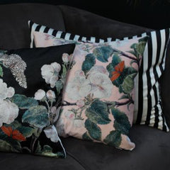 Gladys & Charles Luxury Black and cream stripe velvet cushion, by VanillaFly
