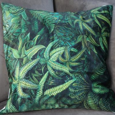 Gladys & Charles, Luxury Soft Velvet Fern Leaf Green Cushion, By VanillaFly, Botanical