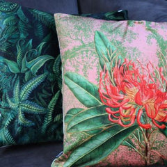 Gladys & Charles Coral Nutan Floral Velvet Cushion, by VanillaFly