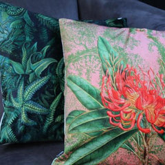 Gladys & Charles Velvet Green Botanical Fern Cushion, by VanillaFly