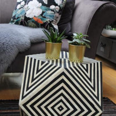 Humbug bone inlay black and white side table, stool black and white bone inlay