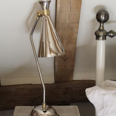 Nickel and bronze, conical table lamp, desk lamp, table lamp